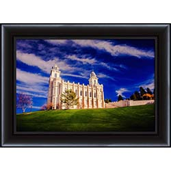 Manti Temple Blue Skies - Framed