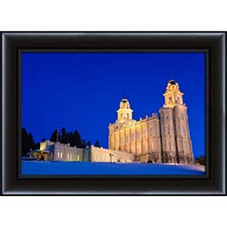 Manti Temple In The Snow - Framed