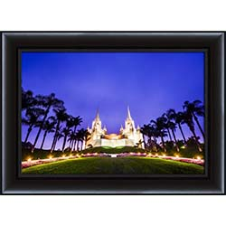 San Diego Temple Morning Blue Skies - Framed