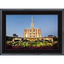 Seattle Temple Sunset with Flowers - Framed