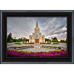 Vancouver Temple Sunset with Flowers - Framed