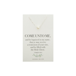 Pearl Baptism Necklace baptism necklace, come unto me jewelry