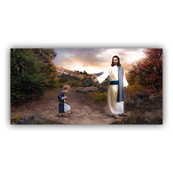 Following in His Footsteps - Print christ, christ and children, pictures of christ