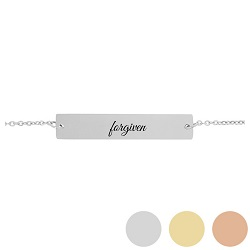 Forgiven - His Word Bar Bracelet his word bracelet, forgiven bar bracelet, personalized forgiven phrase christian bracelet, forgiven christian bracelets, one word christian phrases