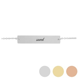 Saved - His Word Bar Bracelet his word bracelet, saved bar bracelet, personalized made phrase christian bracelet, saved christian bracelets, one word christian phrases