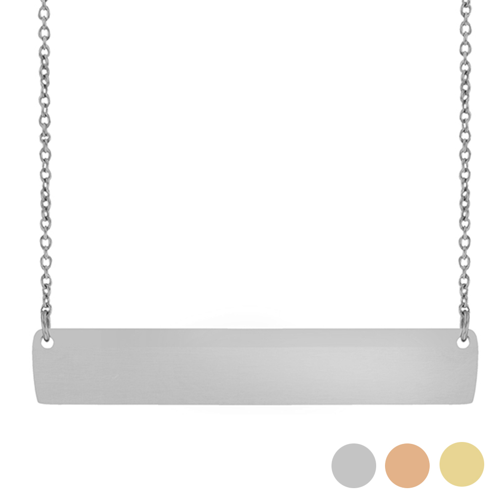 Customizable Horizontal Bar Necklace bar necklace, text bar necklace, gold bar necklace, personalizable bar necklace