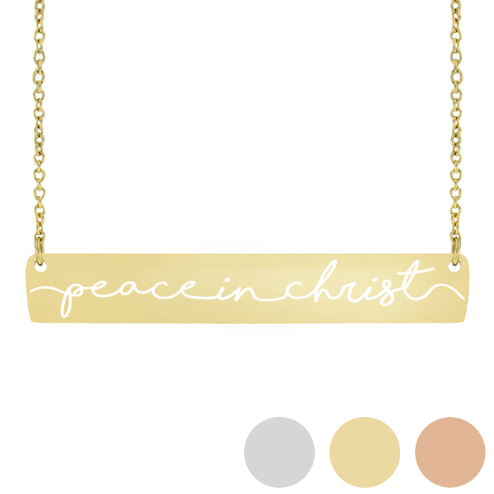 Peace In Christ Horiztonal Bar Necklace - LDP-HBN113-SLV