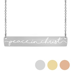 Peace In Christ Horiztonal Bar Necklace