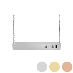 Be Still - His Word Bar Necklace his word necklace, be still bar necklace, Psalm 46:10 bar necklace, antique-looking necklace, bar necklace, text bar necklace, gold bar necklace, personalizable bar necklace