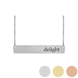 Delight - His Word Bar Necklace his word necklace, delight bar necklace, Psalms 37:4 bar necklace, antique-looking necklace, bar necklace, text bar necklace, gold bar necklace, personalizable bar necklace