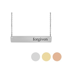 Forgiven - His Word Bar Necklace his word necklace, forgiven bar necklace, 2 Chronicles 7:14 bar necklace, antique-looking necklace, bar necklace, text bar necklace, gold bar necklace, personalizable bar necklace
