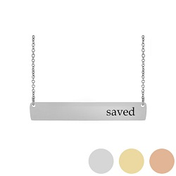 Saved - His Word Bar Necklace his word necklace, saved bar necklace, Mark 16:16 bar necklace, antique-looking necklace, bar necklace, text bar necklace, gold bar necklace, personalizable bar necklace