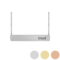Trust - His Word Bar Necklace his word necklace, trust bar necklace, Proverbs 3:5 bar necklace, antique-looking necklace, bar necklace, text bar necklace, gold bar necklace, personalizable bar necklace