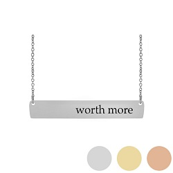Worth More - His Word Bar Necklace his word necklace, worth more bar necklace, Proverbs 31:10 bar necklace, antique-looking necklace, bar necklace, text bar necklace, gold bar necklace, personalizable bar necklace