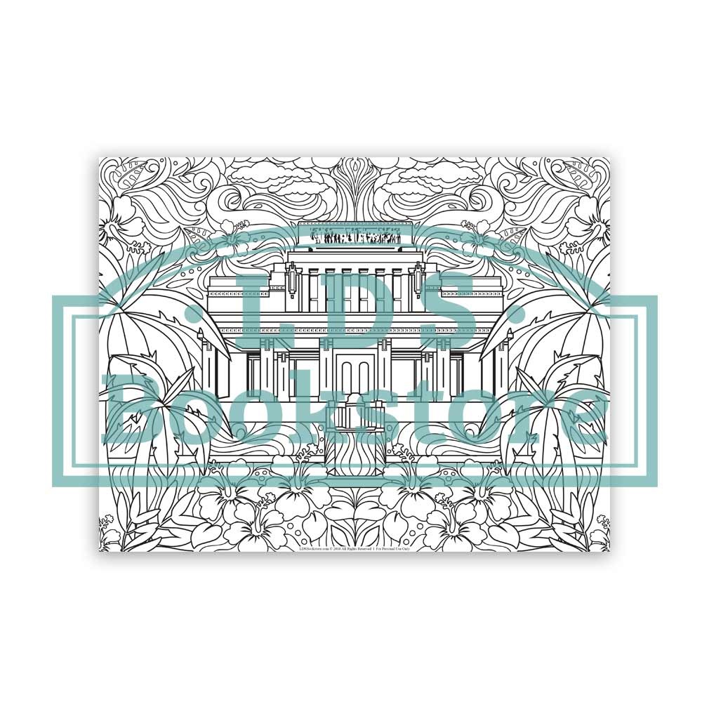 Laie Hawaii Temple Spring Coloring Page - Printable laie hawaii temple coloring page, hawaii temple, coloring page