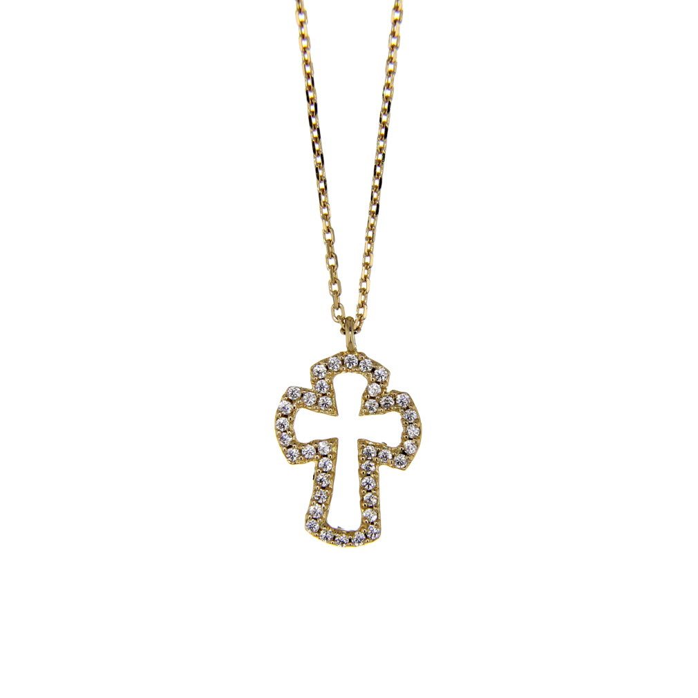 Gold Plated CZ Open Cross Necklace