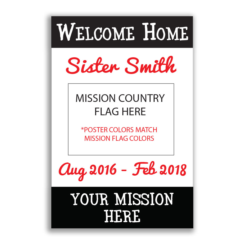 Handheld Flag Missionary Poster - Sister - LDP-MSPST334