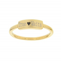 True Heart Waits Bar Ring bar ring, lds text bar ring