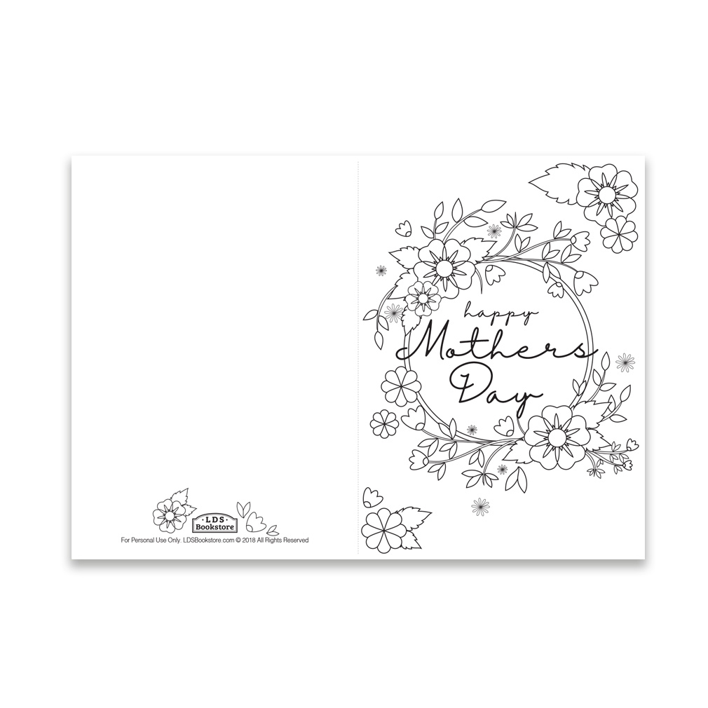 mother 39 s day coloring card spring flowers printable in free lds printables ldsbookstore. Black Bedroom Furniture Sets. Home Design Ideas
