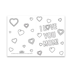 Mothers Day Coloring Card - Hearts - Printable free mothers day card, printable mothers day card, flowery mothers day card