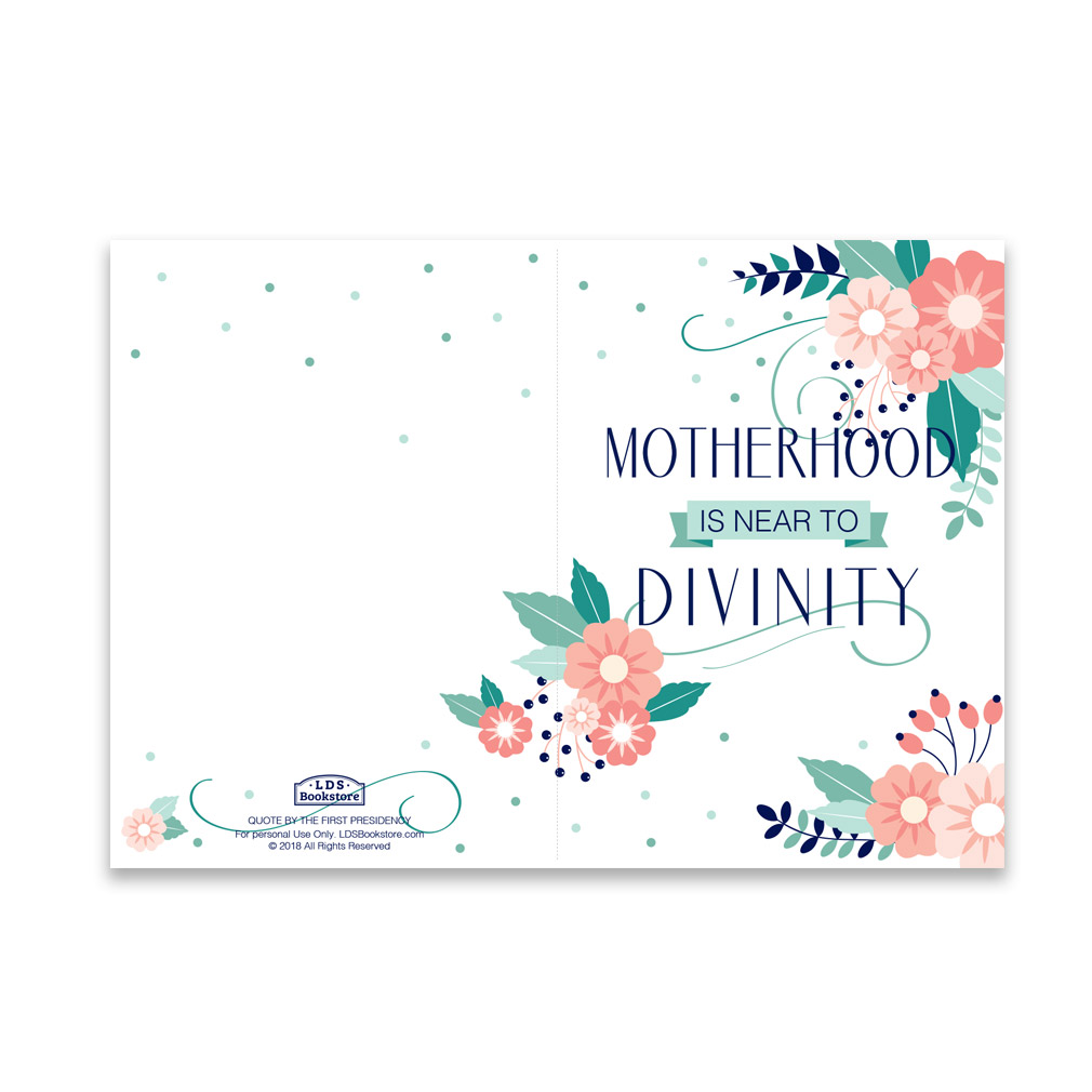 image relating to Printable Mothers Day Quotes referred to as Moms Working day Card - Motherhood is Future in the direction of Divinity - Printable
