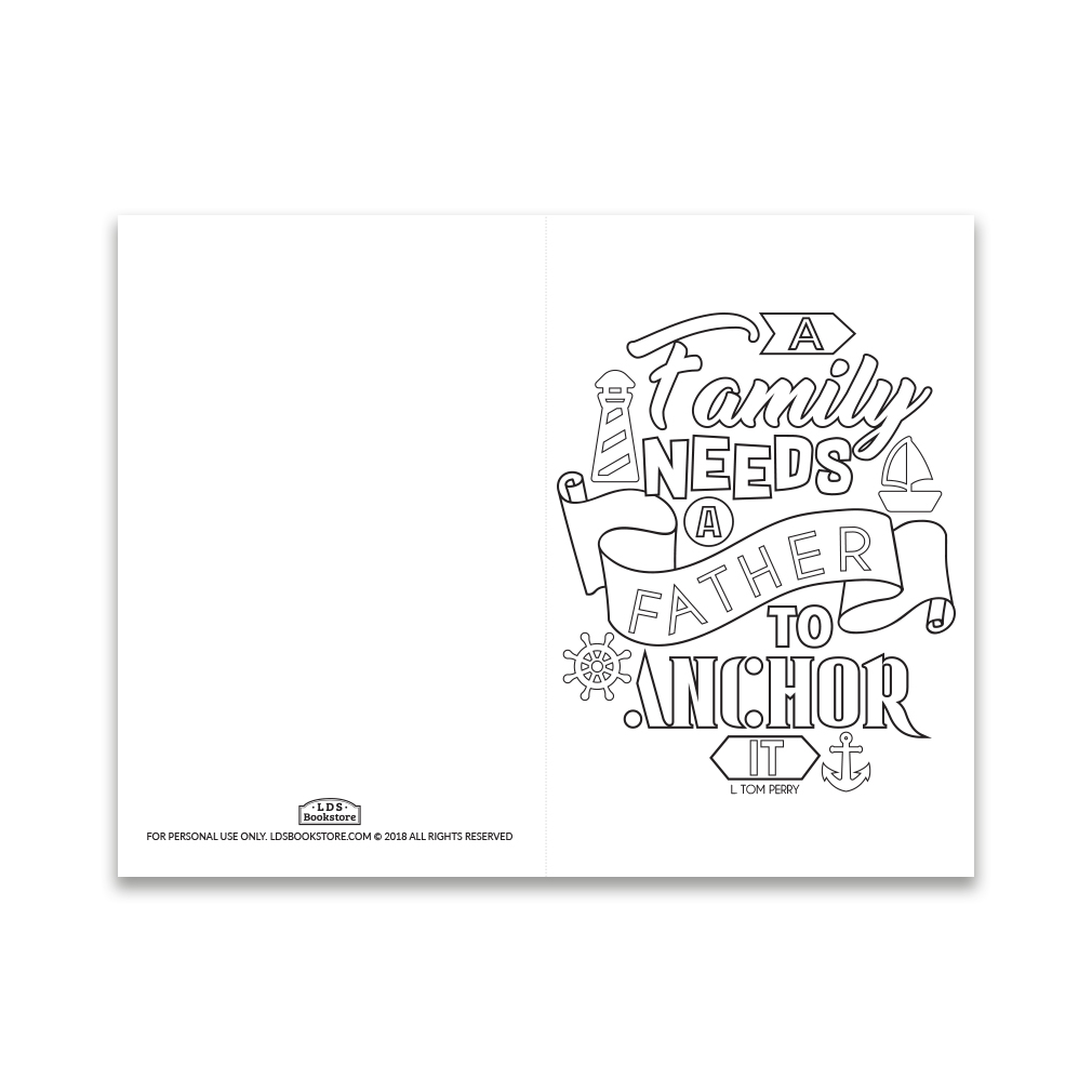 graphic relating to Father's Day Printable Cards known as Fathers Working day Coloring Card - A Spouse and children Requires a Dad - Printable