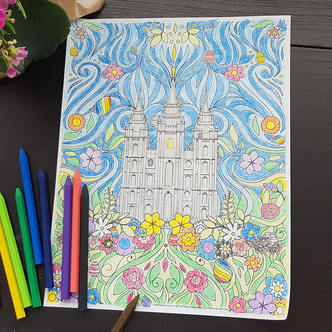 Easter Temple Coloring Page - Printable - LDPD-PBL254