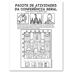 April 2018 General Conference Activity Packet Printable - Portuguese general conference printable, general conference activity packet, free general conference printable,