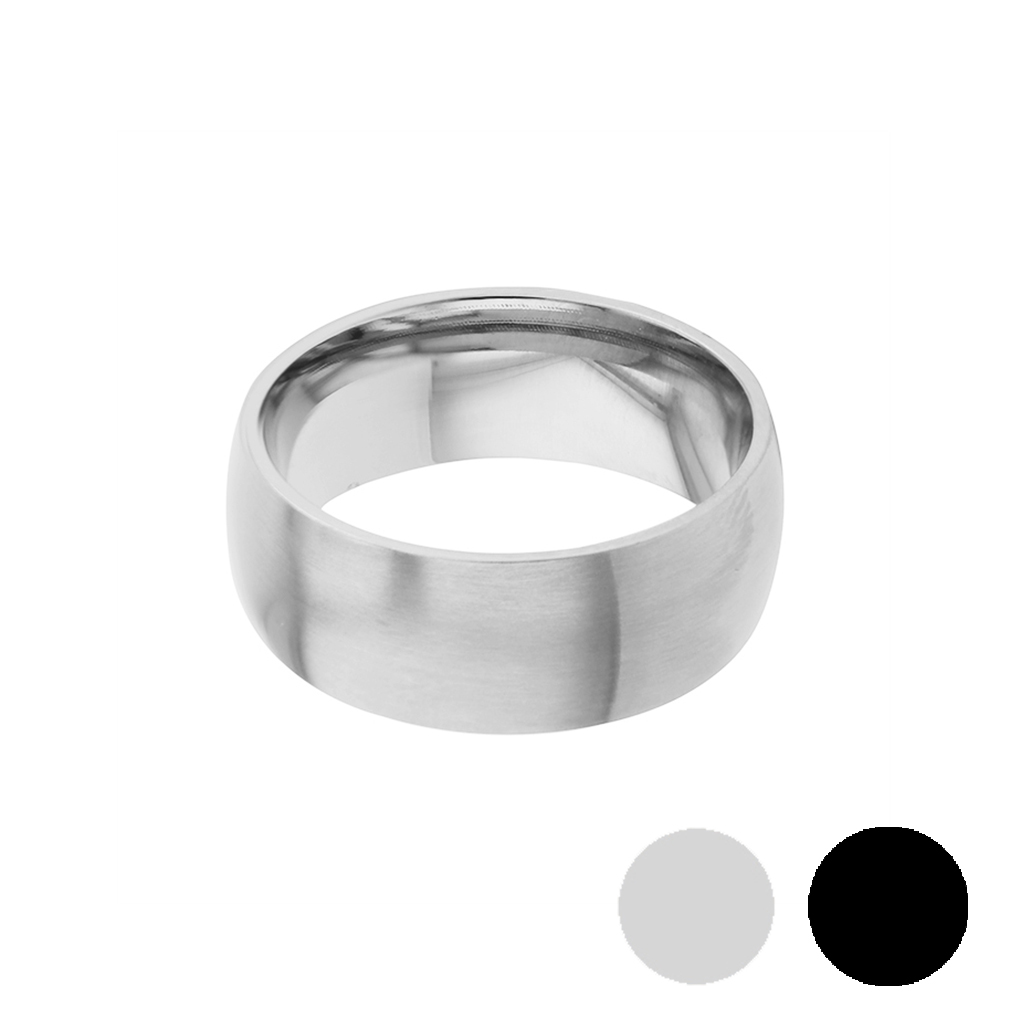 Domed Stainless Steel Matte Finish Ring - Wide - LDP-RNGB15