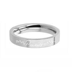 Vines Purity Ring - Narrow Flat Edge  purity ring, puirty vines ring, engrable purity ring, engrave-able ring, engraved ring, personalized ring, customized ring, princess ring, stainless steel ring