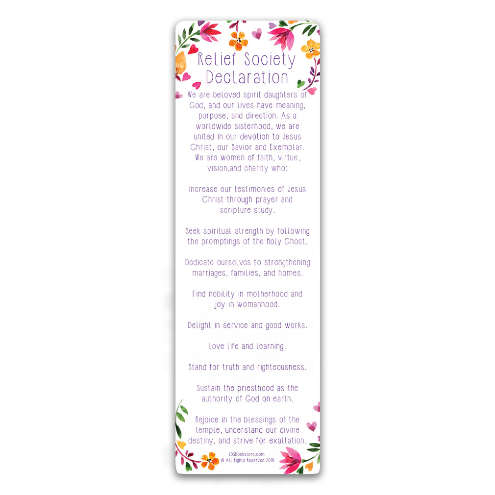 Relief Society Bookmark relief society bookmark, lds relief society bookmark