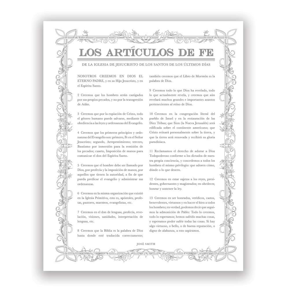 Leaf Outline Articles of Faith - Spanish - LDP-AF282S