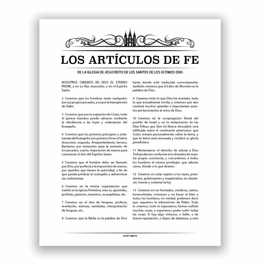 Temple Header Articles of Faith - Spanish