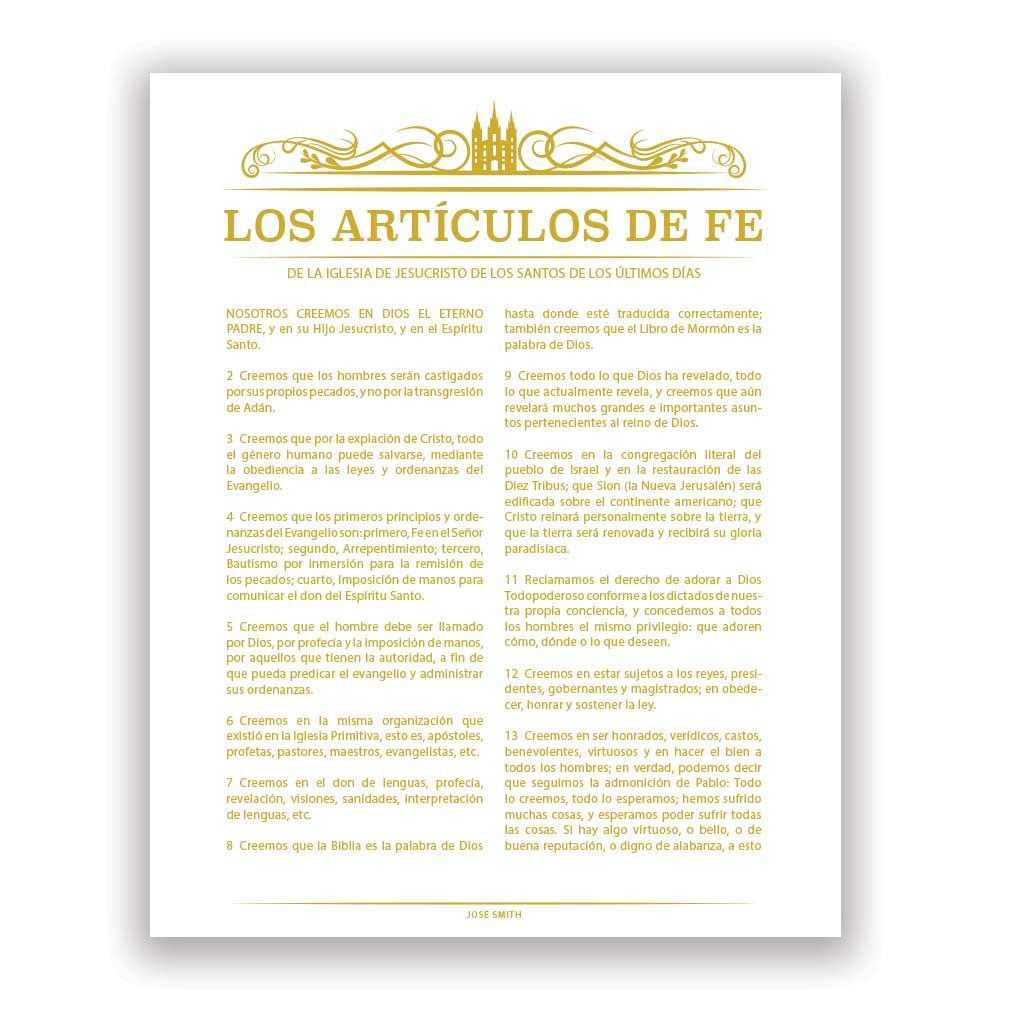 Temple Header Articles of Faith - Spanish - LDP-AF284S