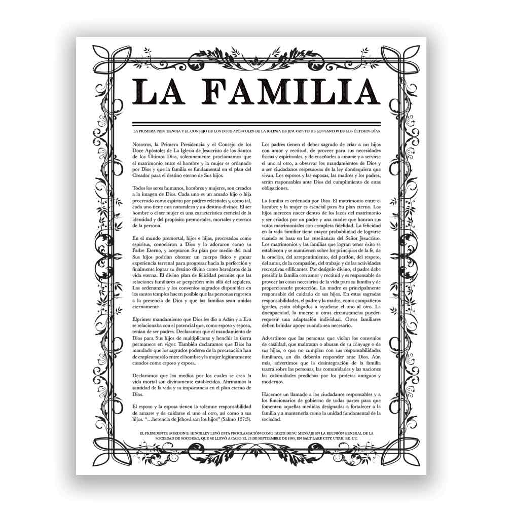 Filled Leaf Family Proclamation - Spanish family proclamation, family proclamation to the world, the family proclamation, filled leaf, leaf, black family proclamation, gold family proclamation, charcoal family proclamation
