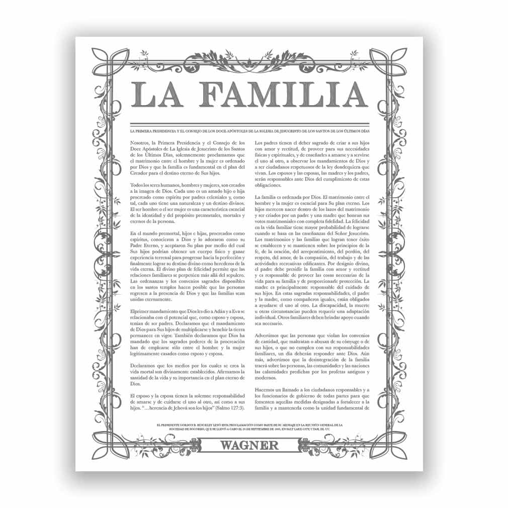 Personalized Filled Leaf Family Proclamation - Spanish - LDP-CFP281S