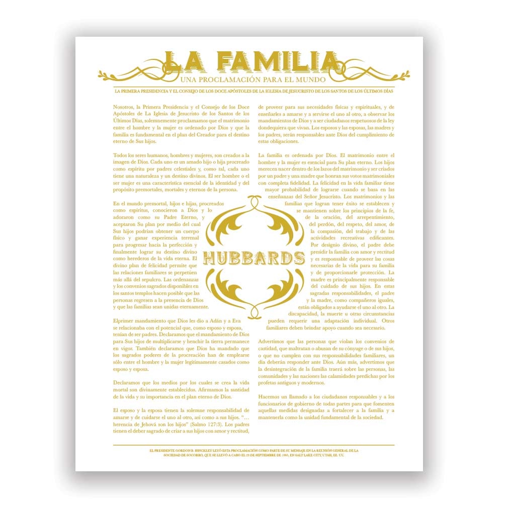 Personalized Newspaper Family Proclamation - Spanish - LDP-CFP285S