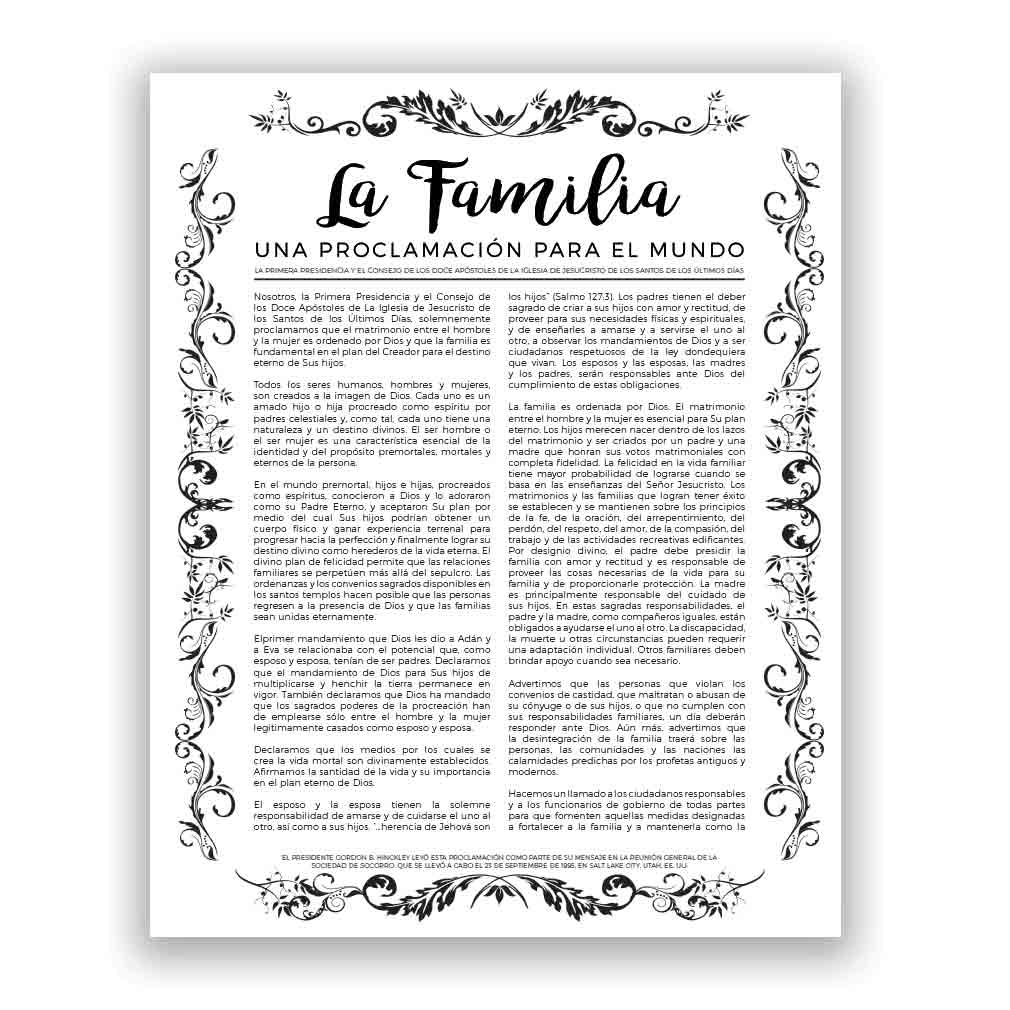 Organic Family Proclamation - Spanish organic, leaf, black, gold, charcoal, the living christ, living christ, home decor, family posters,