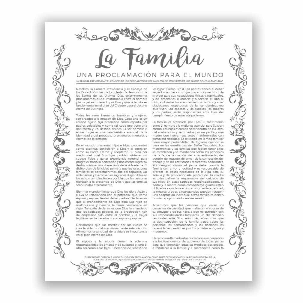 Organic Family Proclamation - Spanish - LDP-LC286S
