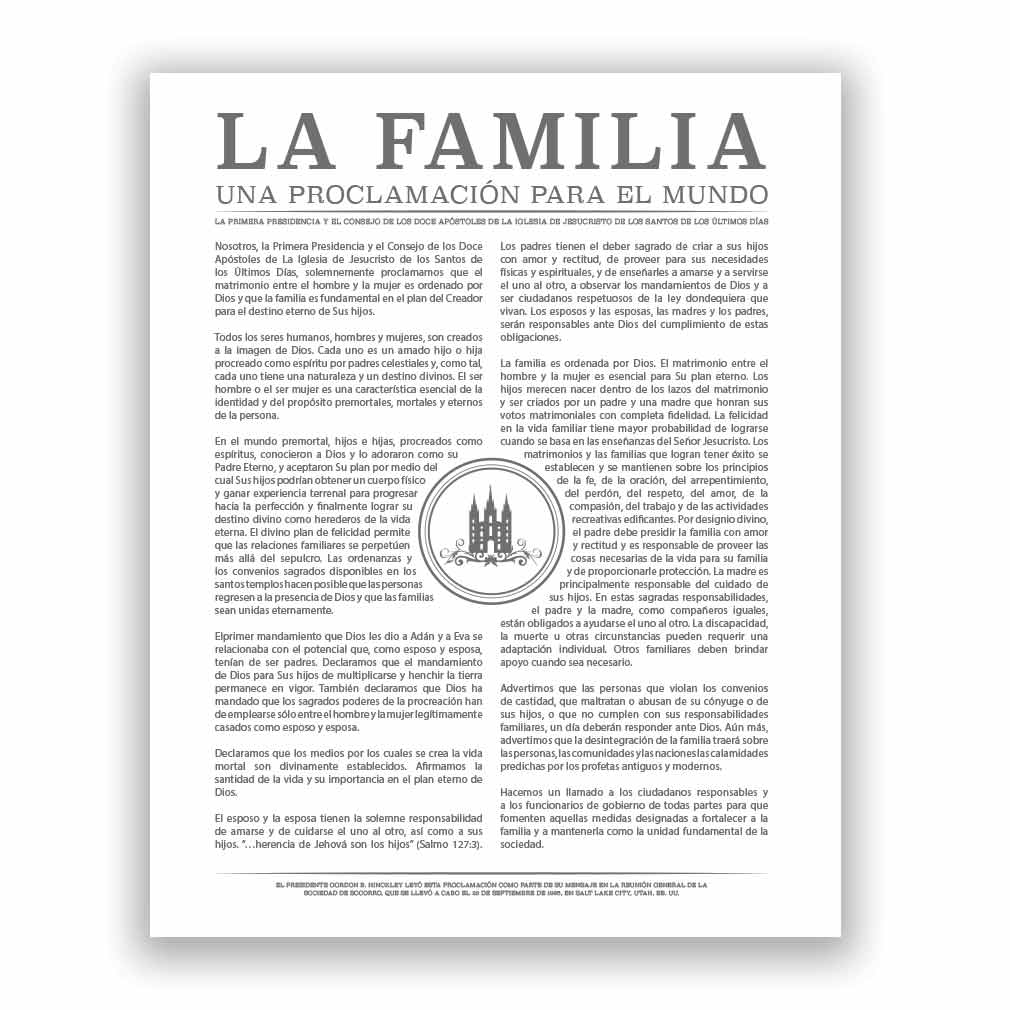 Temple Stamp Family Proclamation - Spanish - LDP-FP283S