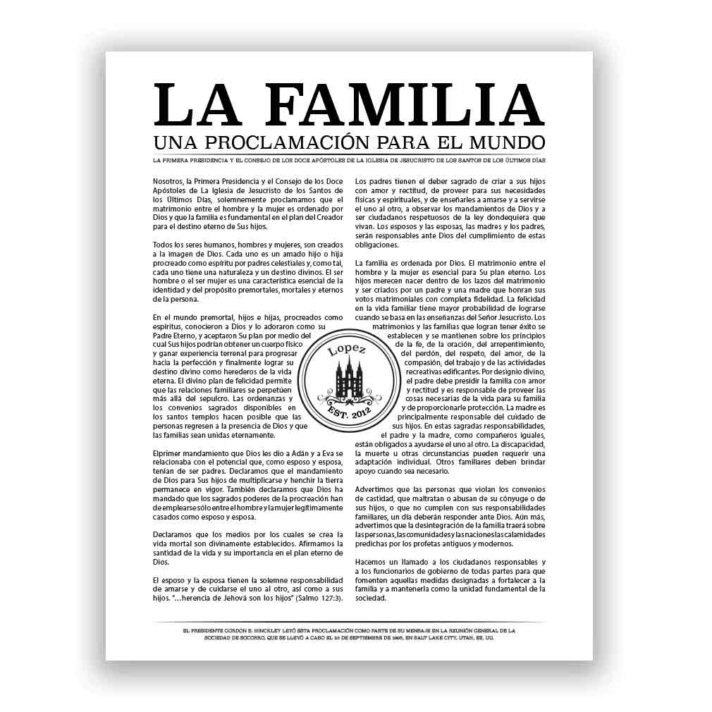 Personalized Temple Stamp Family Proclamation - Spanish family proclamation, family proclamation to the world, the family proclamation, temple stamp proclamation custom family proclamation, personalized family proclamation