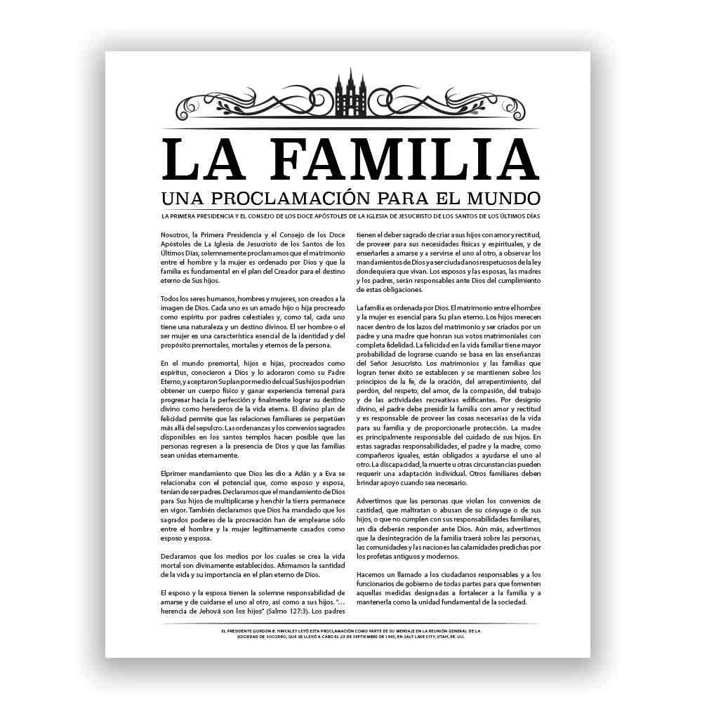 photograph about The Family a Proclamation to the World Free Printable named Temple Header Household Proclamation - Spanish within Household