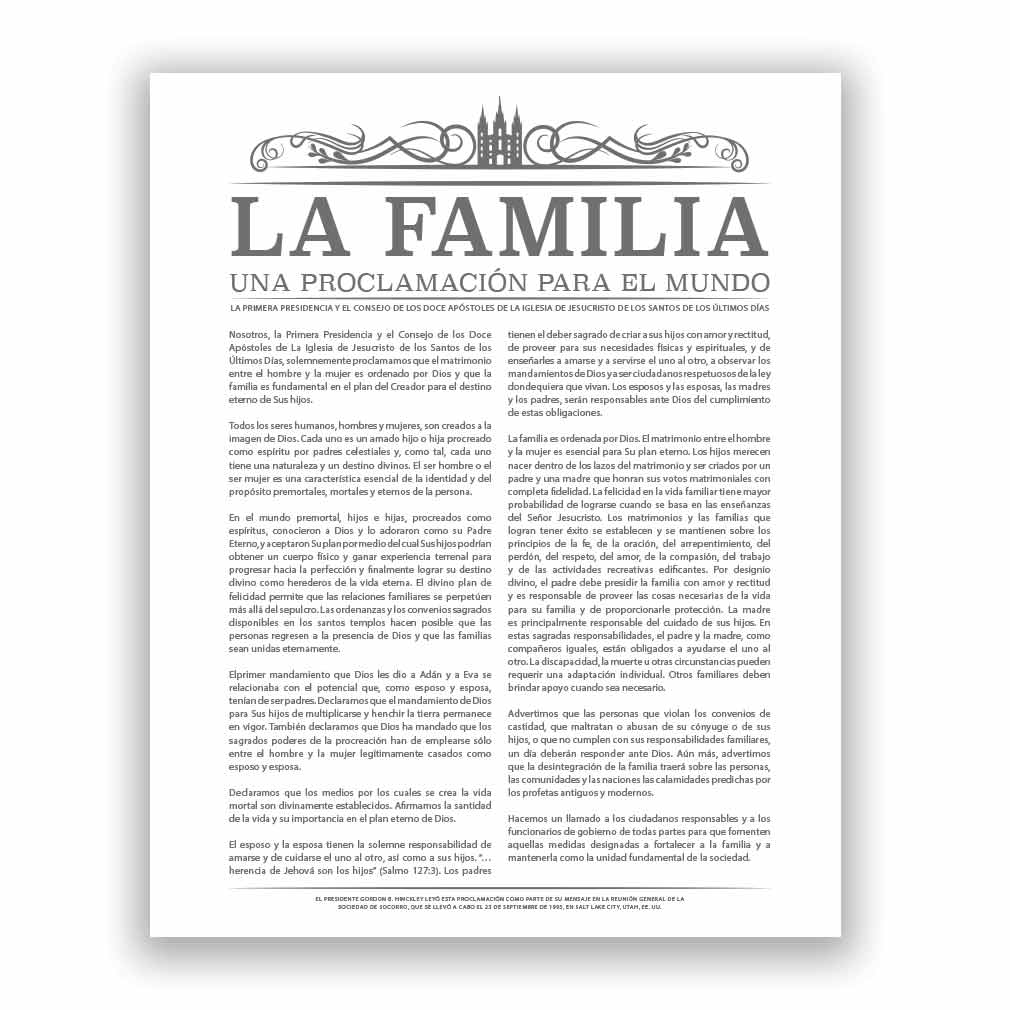 Temple Header Family Proclamation - Spanish - LDP-FP284S