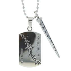 "Crown Of Thorns With Nail ""Way, Truth, Life"" Dog Tag Necklace"