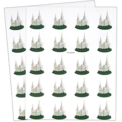 Brigham City Temple Stickers - 40 count brigham city temple stickers, brigham city temple, utah temple stickers, utah temple colored stickers