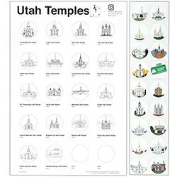 Utah Temple Road Trip Tracker temple tracking, temple tracking stickers, utah temple stickers, utah temple colored stickers
