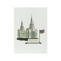 Brigham City Temple Print - 5x7 brigham city temple print, brigham city temple sketch, utah temple sketch, utah temple color sketch