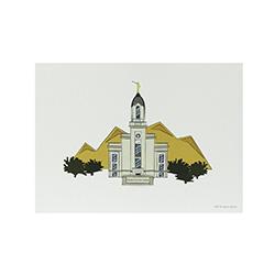 Cedar City Temple Print - 5x7 cedar city temple print, cedar city temple sketch, utah temple sketch, utah temple color sketch