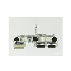 Monticello Temple Print - 5x7 monticello temple print, monticello temple sketch, utah temple sketch, utah temple color sketch