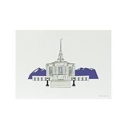 Ogden Temple Print - 5x7 ogden temple print, ogden temple sketch, utah temple sketch, utah temple color sketch